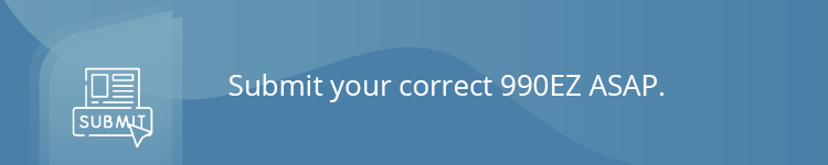 Submit your correct 990EZ ASAP.